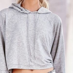 VS Gray Cropped Hoodie Supersoft Logo Cotton Grey